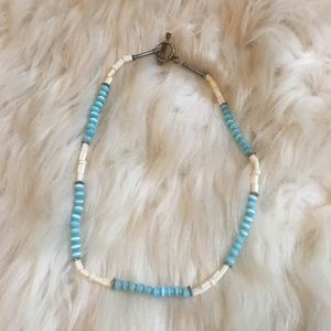 """Short Beaded Necklace 14"""" Casual teal and white"""
